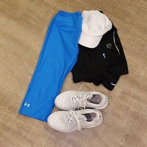 Electric Blue Cropped Running Tights